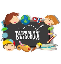 Back to school theme with boy and girls vector