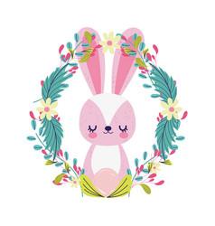 bashower cute little rabbit wreath flowers vector image