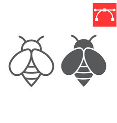 bee line and glyph icon insect and honey vector image