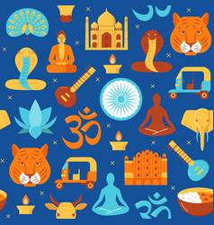 Bright india seamless pattern in flat style vector