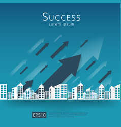Business arrows concept to success growth chart vector