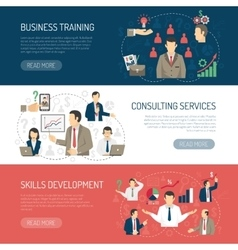 Business Training Consulting Horizontal Banners vector