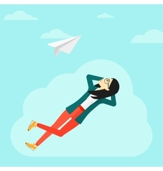 Business woman relaxing on cloud vector image