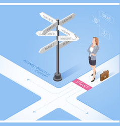 business woman standing at a crossroad and looking vector image