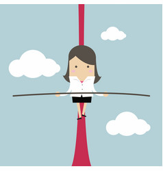 Businesswoman balancing on rope in the air vector