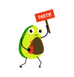 Cartoon avocado character party sign and drink vector