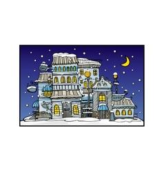 cartoon night city coated by snow vector image