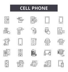 Cell phone line icons signs set outline vector