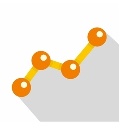 Chart statistics line icon flat style vector