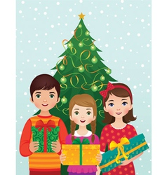 Children and Christmas morning vector