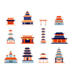 chinese buildings china town temple culture vector image