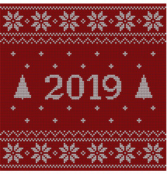 christmas red jumper fragment with 2019 new year vector image