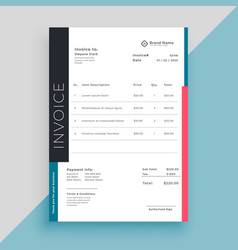 Clean modern invoice business template vector