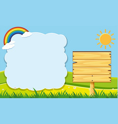 Cloud frame and wooden board in garden vector
