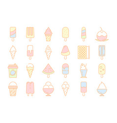 colored ice cream icons frozen milk food balls in vector image