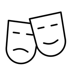 comedy and tragedy theatre masks line icon vector image