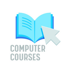 Computer courses banner online education vector