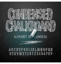 Condensed chalk alphabet letters and numbers vector