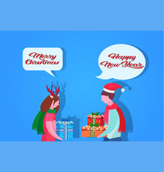 couple giving present each other happy new year vector image