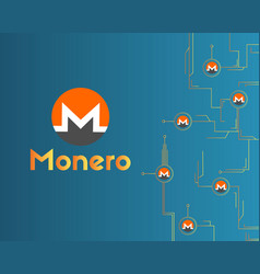 Cryptocurrency monero circuit concept background vector