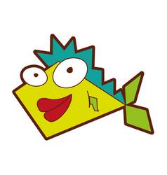 Cute fish comic character vector