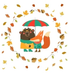 cute fox and bear hugging under umbrella in wreath vector image
