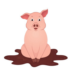 cute pig sit in the mud cartoon symbol of the year vector image