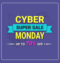 cyber monday flyer super sale banner design vector image