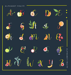Decorative different type fruits alphabet vector