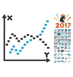 Dotted Functions Plot Icon With 2017 Year Bonus vector