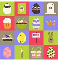 Easter flat stylized icon set 1 vector
