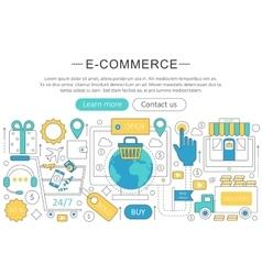 elegant thin flat line E-commerce concept vector image