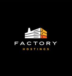 factory hosting server cloud data storage logo vector image