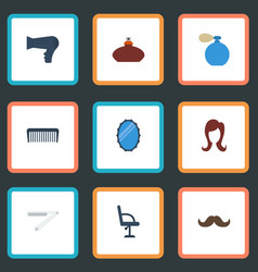Flat icons female looking-glass elbow chair and vector