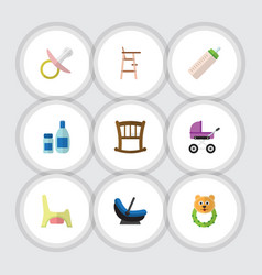 flat kid set of feeder nipple toilet and other vector image