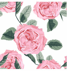 floral seamless pattern with watercolor roses vector image