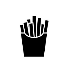 french fries black icon on white background vector image