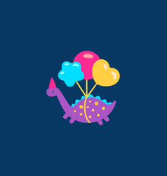 funny cartoon dinosaurs with balloons vector image