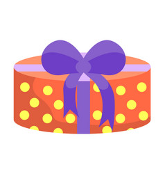Gift present in box tied with ribbon and bow vector
