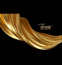 Gold 3d wave on black background abstract motion vector