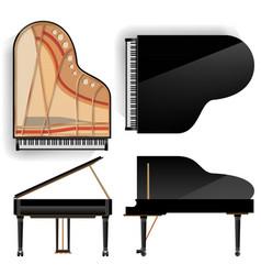 Grand piano set realistic black vector