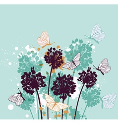 Green decorative background with butterflies vector image