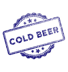 grunge textured cold beer text stamp seal vector image