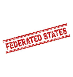 Grunge textured federated states stamp seal vector