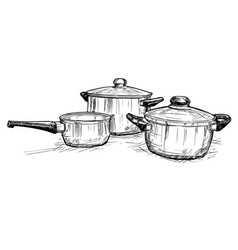hand drawing of set of cooking pots vector image
