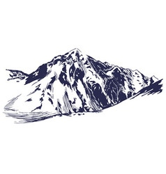 Hand sketch of winter mountains vector image
