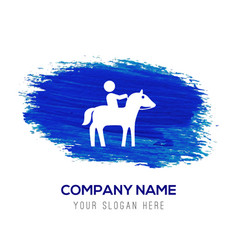 Horse riding icon - blue watercolor background vector