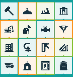 Industry icons set with hammer for tiles chuck vector