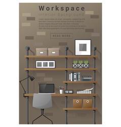 Interior design modern workspace banner 7 vector