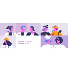 International women day banner diverse worker set vector